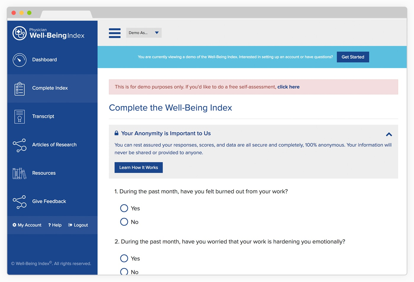 Physician Well-Being Index Demo